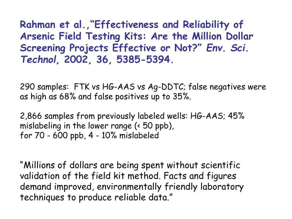 """Rahman et al.,""""Effectiveness and Reliability of Arsenic Field Testing Kits: Are the Million Dollar Screening Projects Effective or Not?"""""""