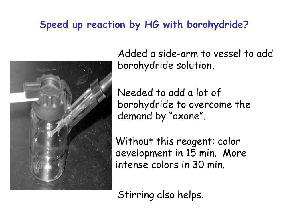 Speed up reaction by HG with borohydride?
