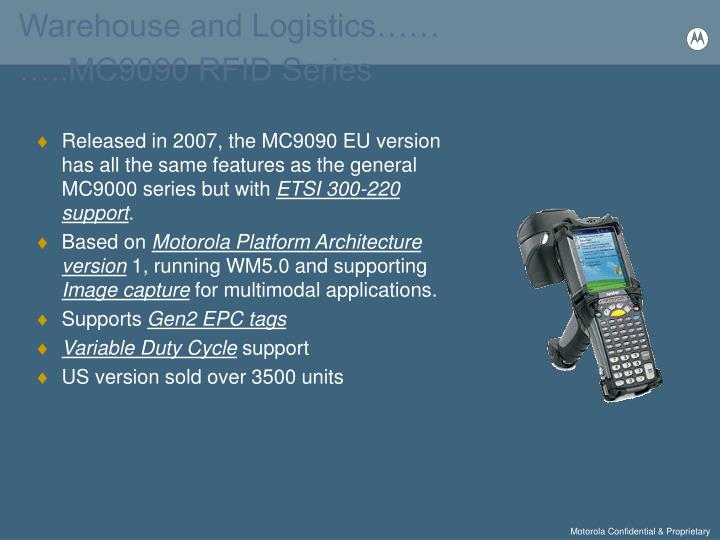 Warehouse and Logistics……                                          …..MC9090 RFID Series