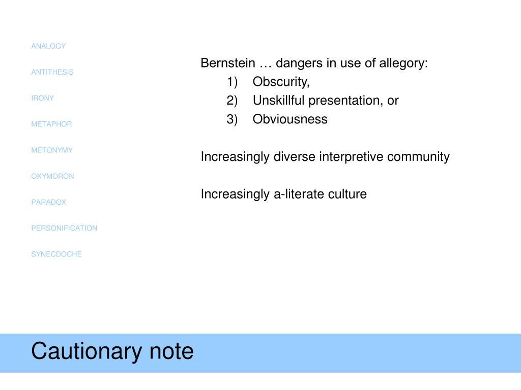 Cautionary note