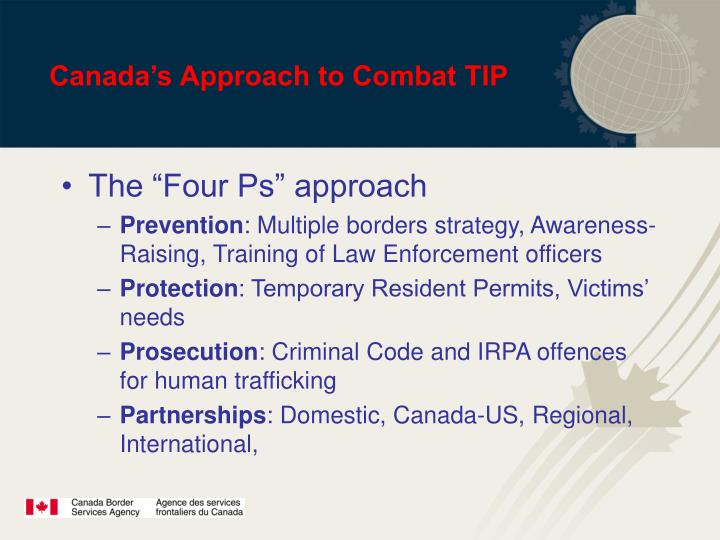 Canada's Approach to Combat TIP