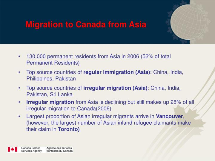 Migration to Canada from Asia