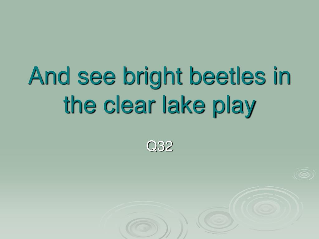 And see bright beetles in the clear lake play