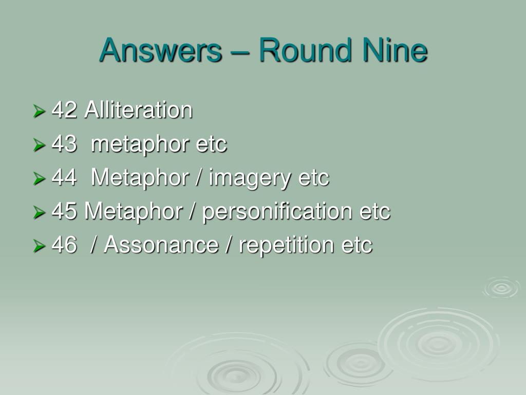 Answers – Round Nine