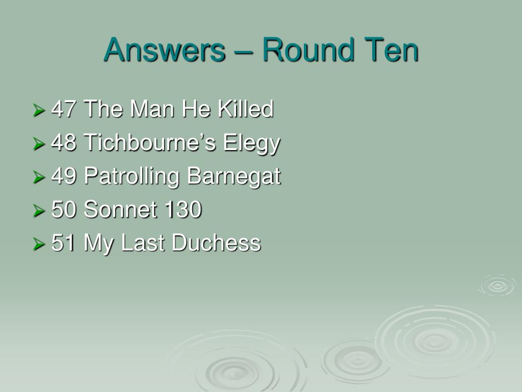 Answers – Round Ten