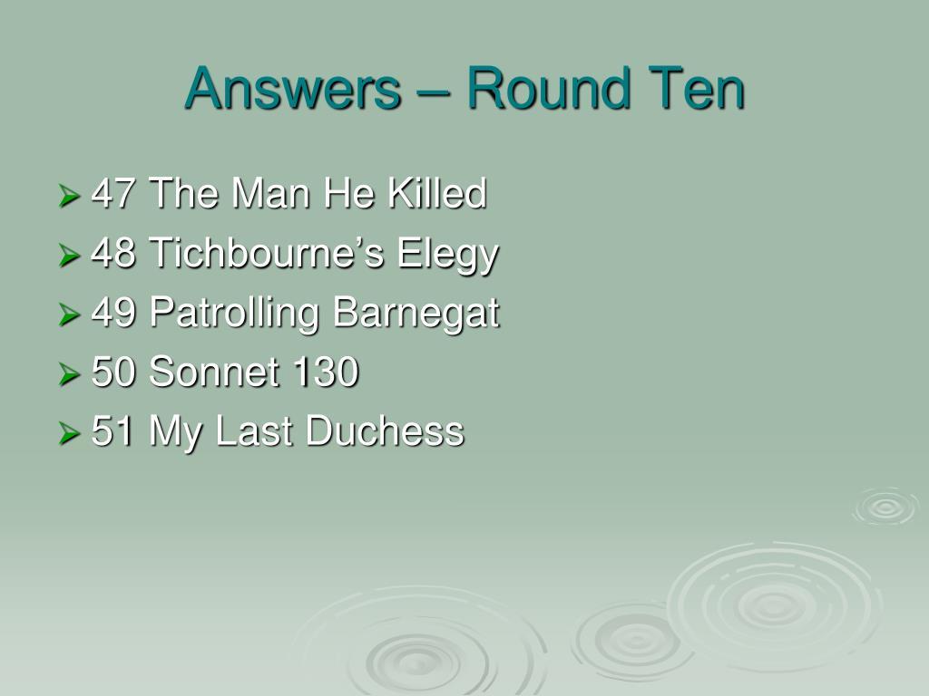 Answers – Round Ten