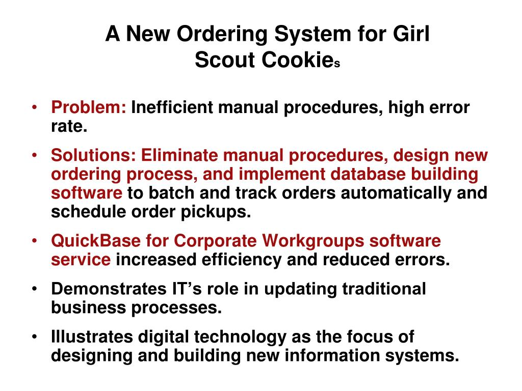 A New Ordering System for Girl Scout Cookie
