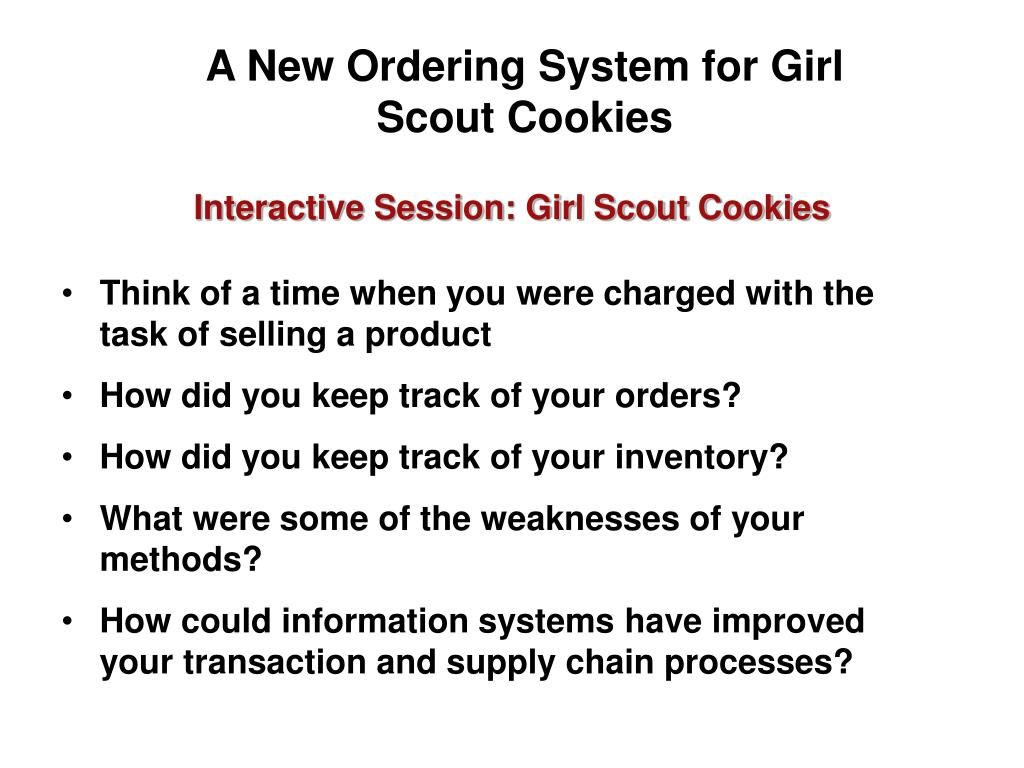 A New Ordering System for Girl Scout Cookies