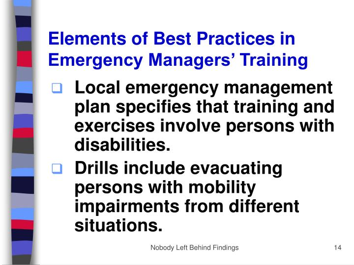 Elements of Best Practices in Emergency Managers' Training