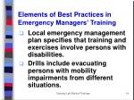elements of best practices in emergency managers training