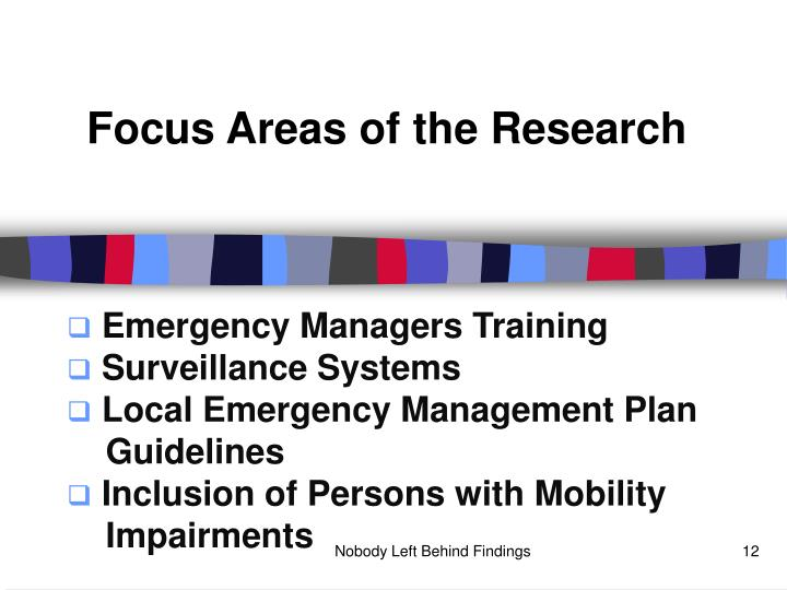 Focus Areas of the Research