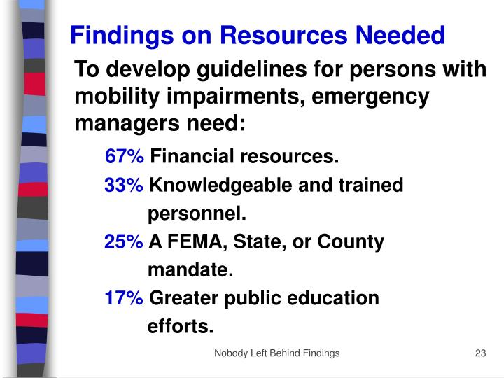 Findings on Resources Needed