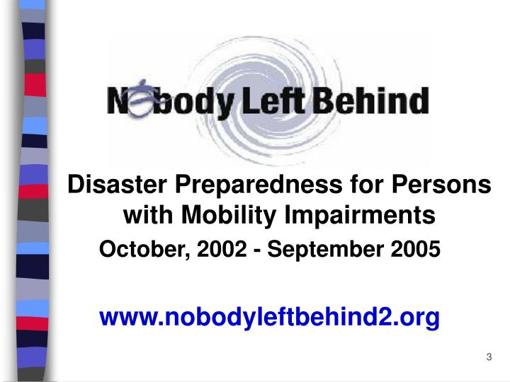 Disaster Preparedness for Persons with Mobility Impairments