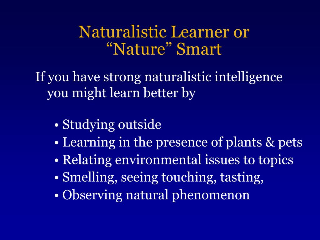 Naturalistic Learner or