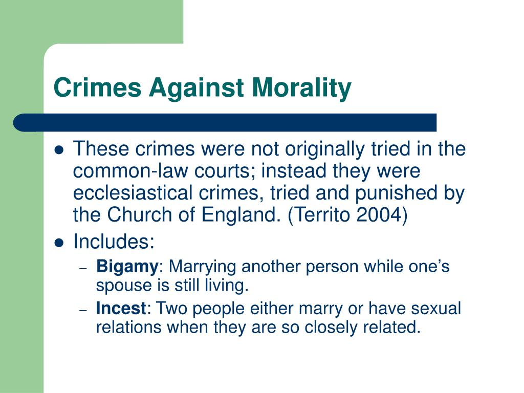 Crimes Against Morality
