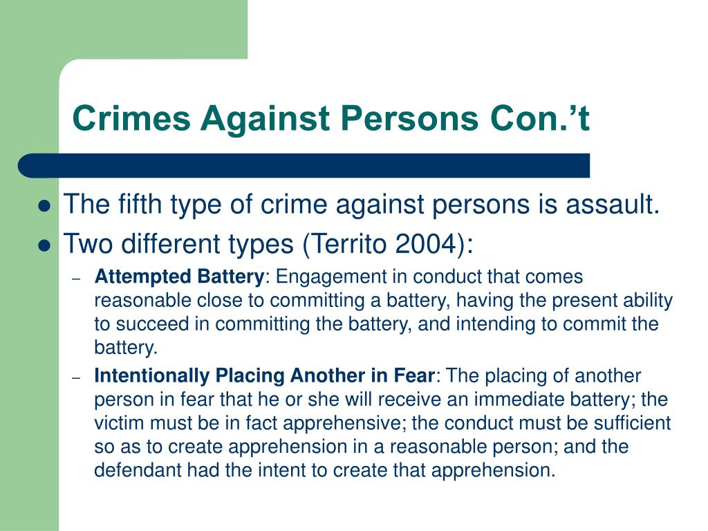 Crimes Against Persons Con.'t