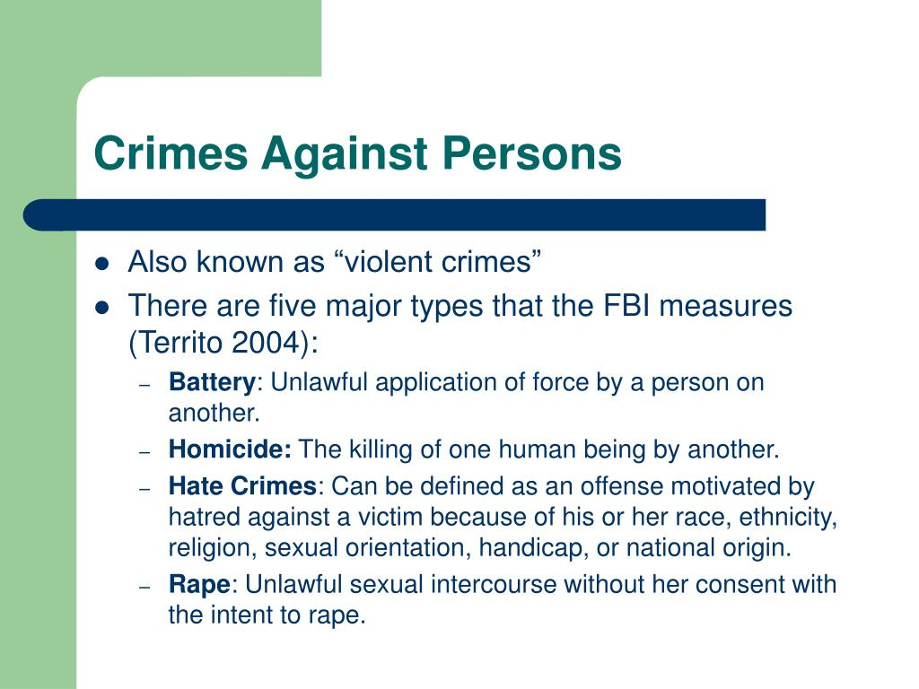 Crimes Against Persons