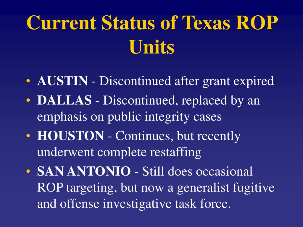 Current Status of Texas ROP Units