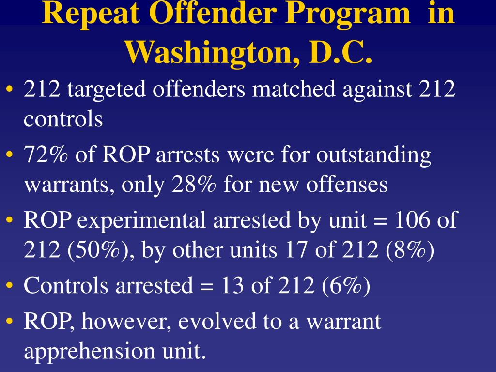 Repeat Offender Program  in Washington, D.C.