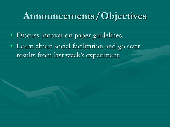 Announcements objectives