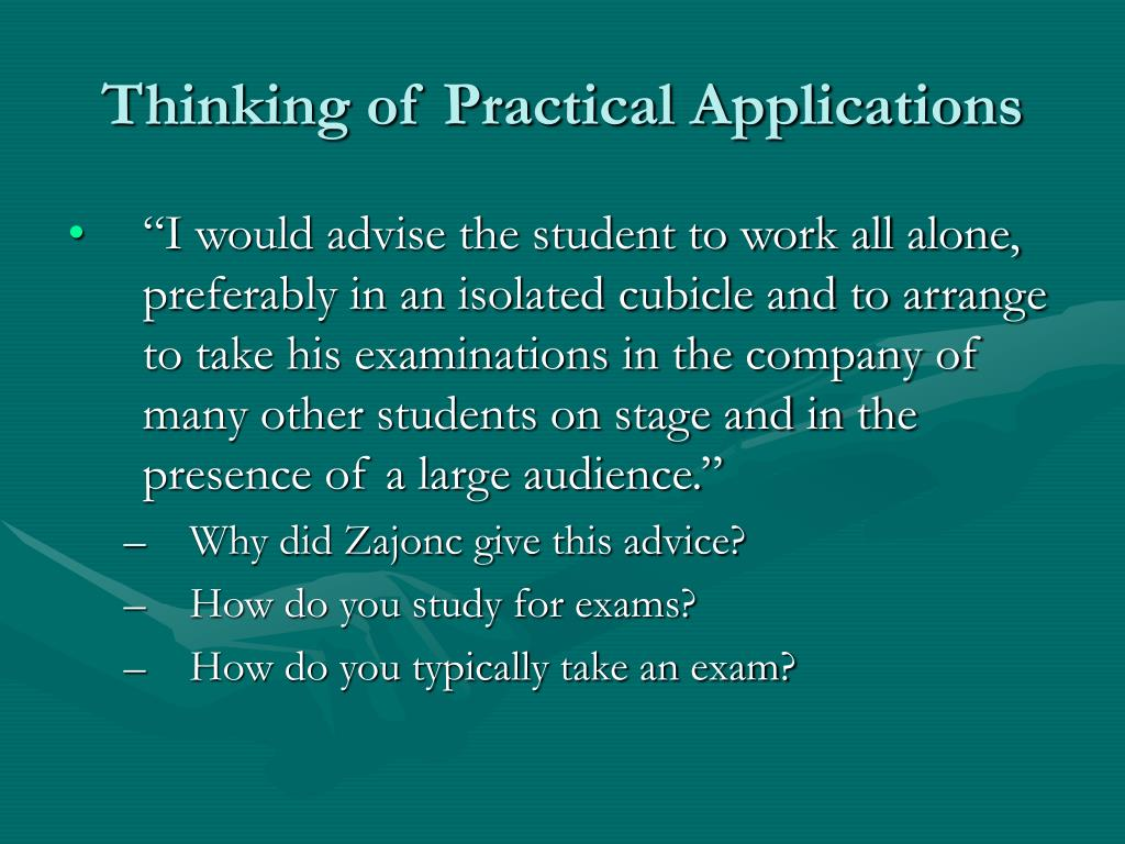 Thinking of Practical Applications