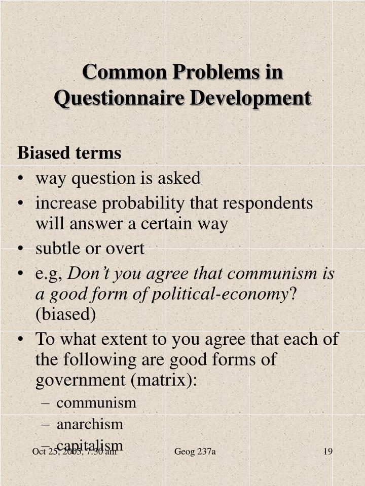 Common Problems in Questionnaire Development