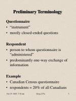 preliminary terminology