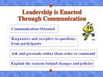 leadership is enacted through communication