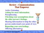 review communications that empower