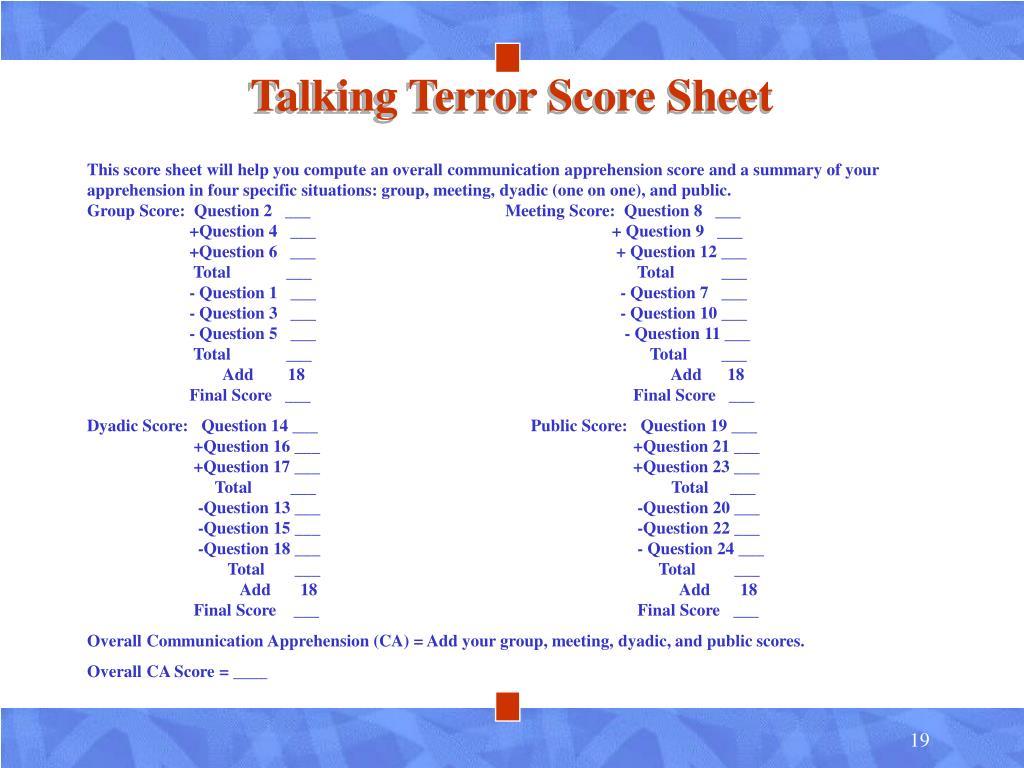 Talking Terror Score Sheet