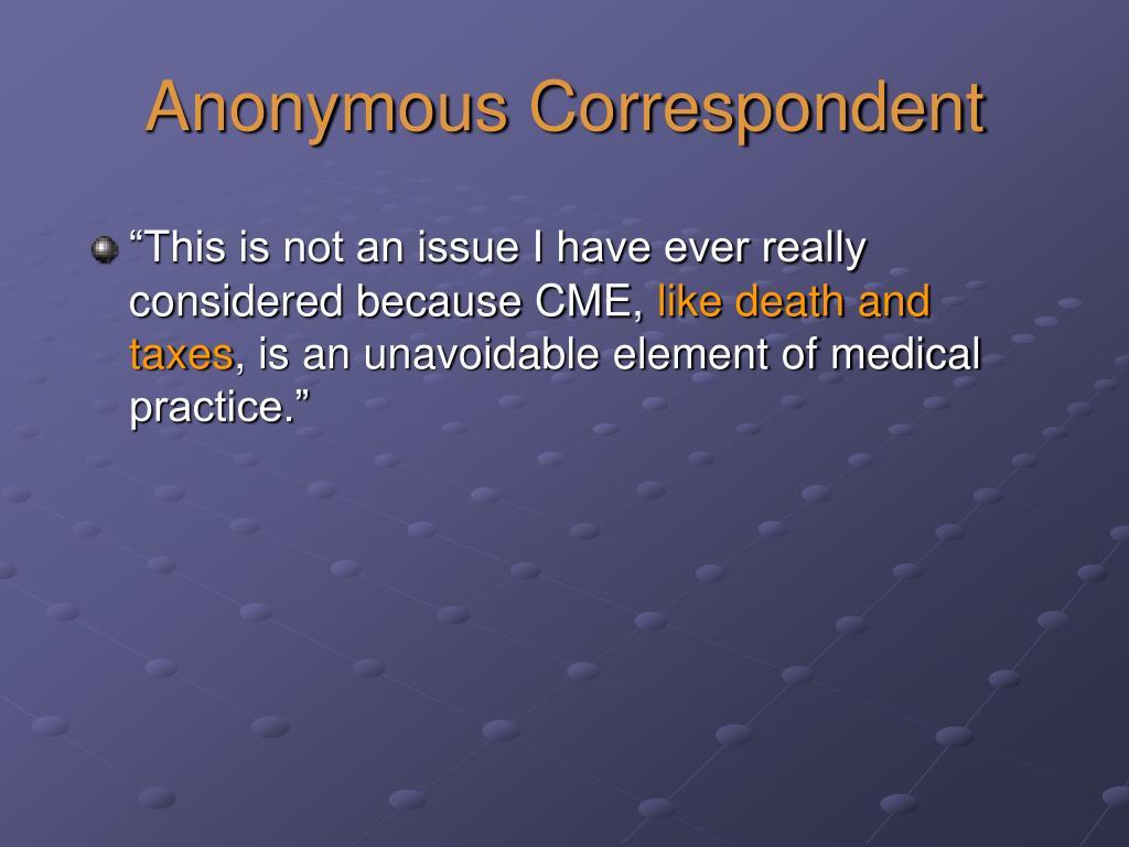 Anonymous Correspondent