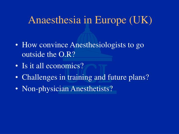 Anaesthesia in europe uk