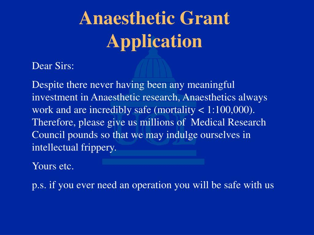 Anaesthetic Grant Application
