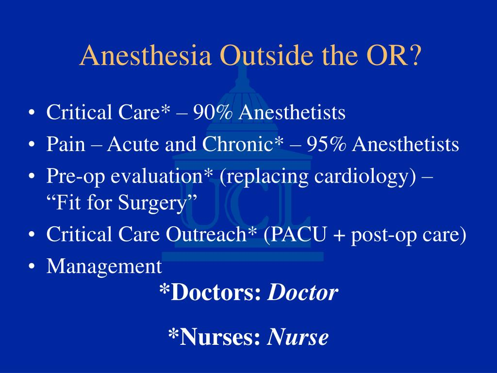 Critical Care* – 90% Anesthetists
