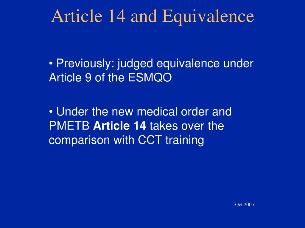 Article 14 and Equivalence