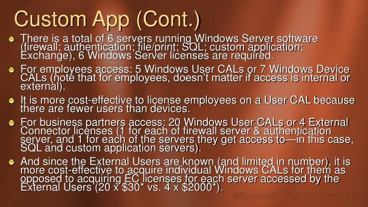 Custom App (Cont.)