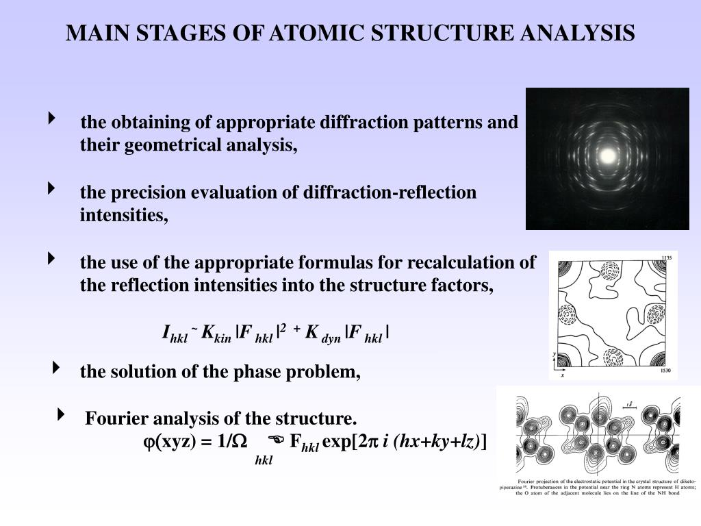 MAIN STAGES OF ATOMIC STRUCTURE ANALYSIS