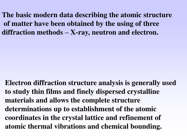 The basic modern data describing the atomic structure