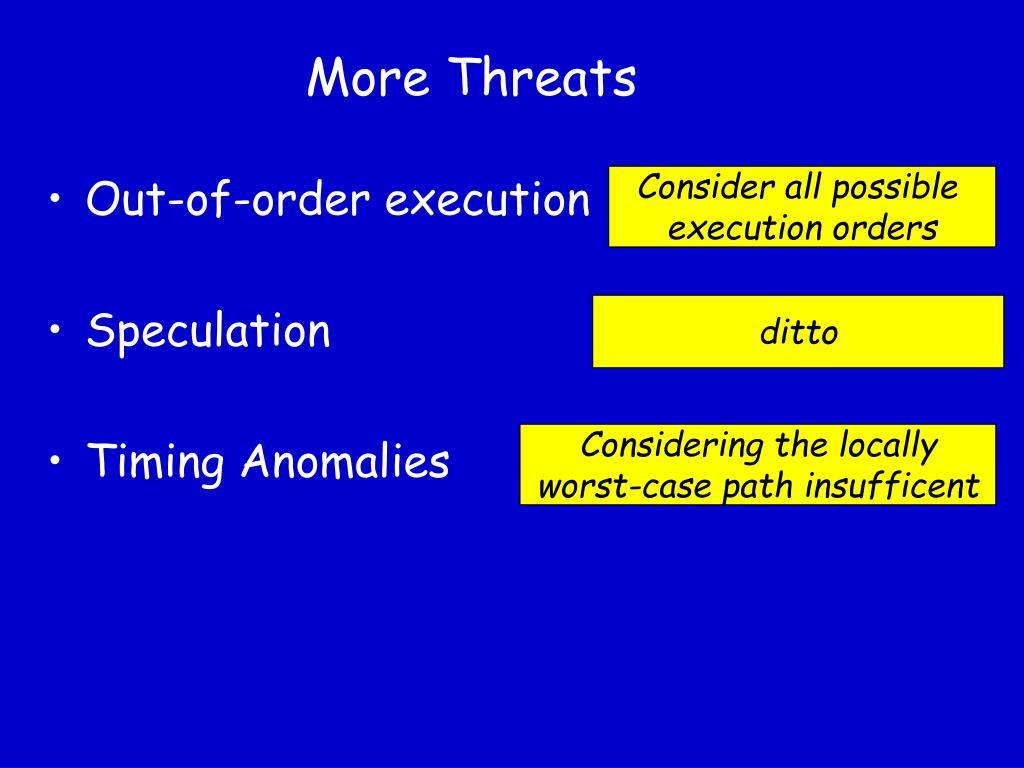 More Threats