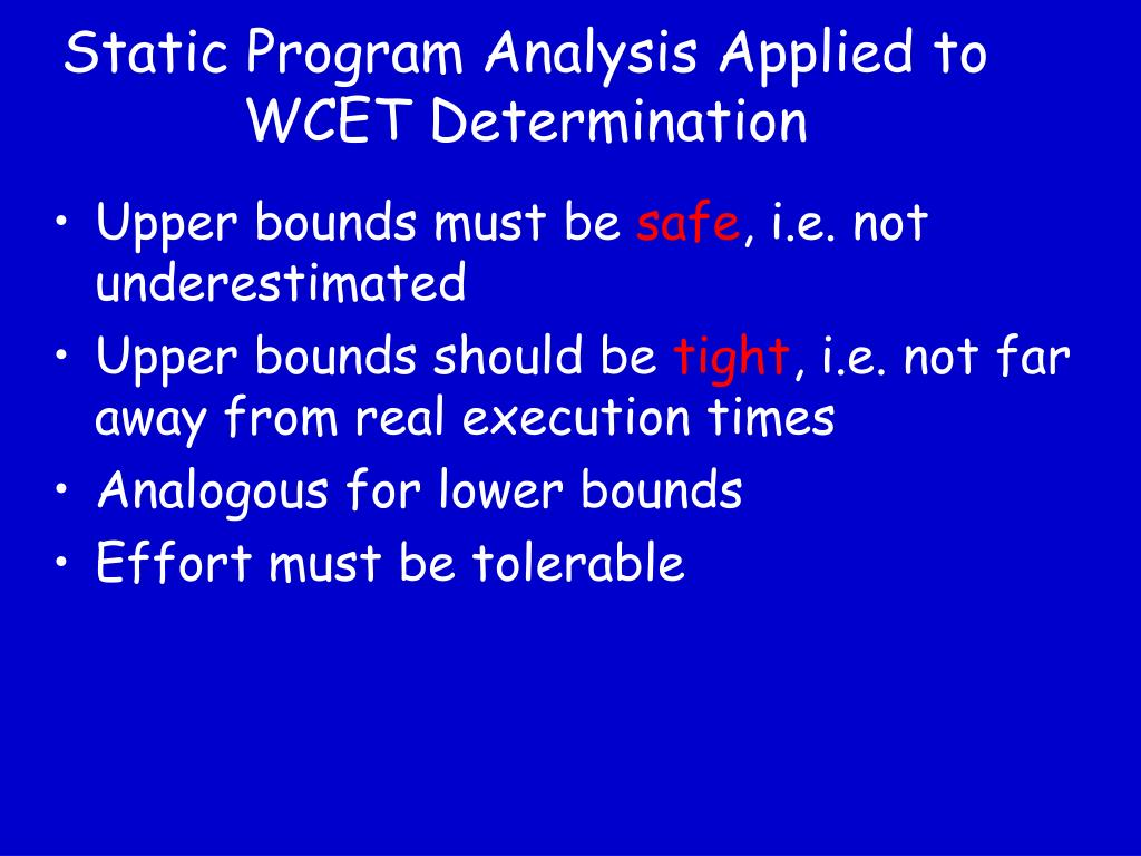 Static Program Analysis Applied to WCET Determination