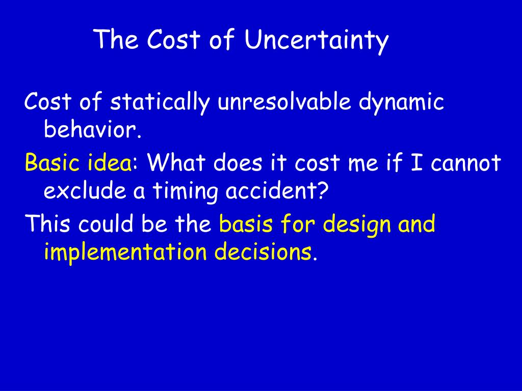 The Cost of Uncertainty