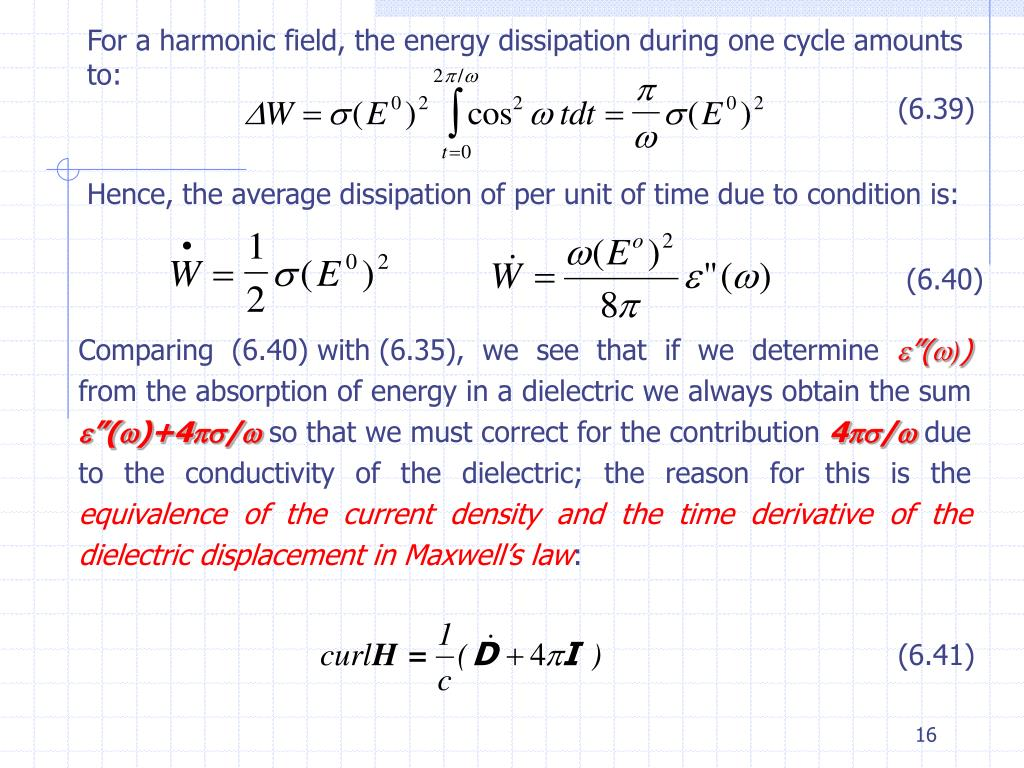 For a harmonic field, the energy dissipation during one cycle amounts to: