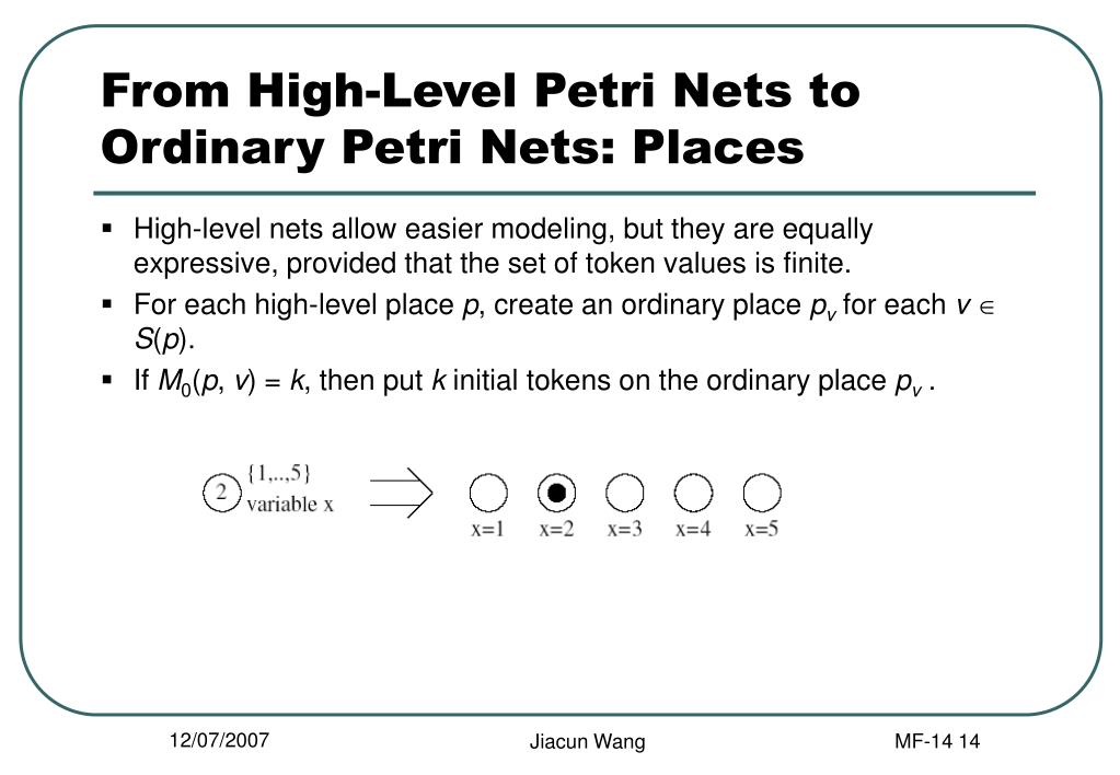 From High-Level Petri Nets to Ordinary Petri Nets: Places