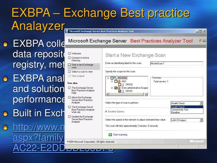 EXBPA – Exchange Best practice Analayzer.