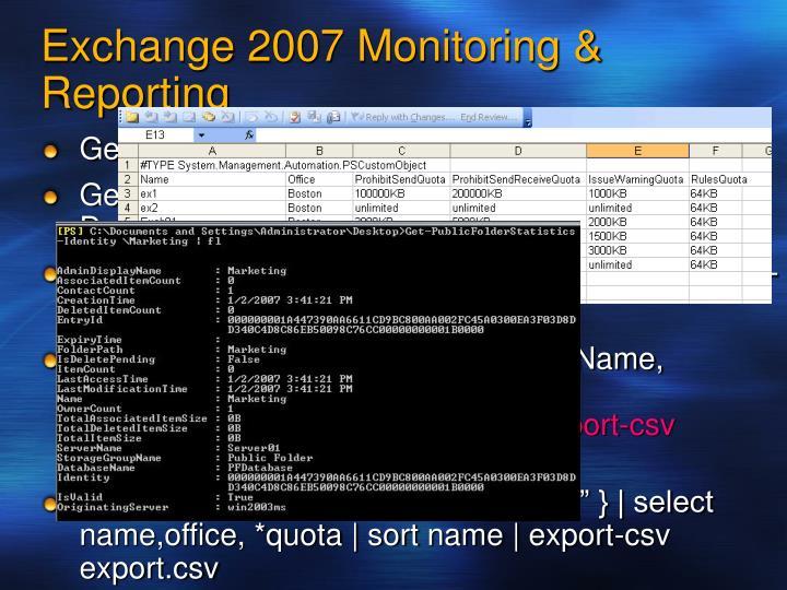 Exchange 2007 Monitoring & Reporting