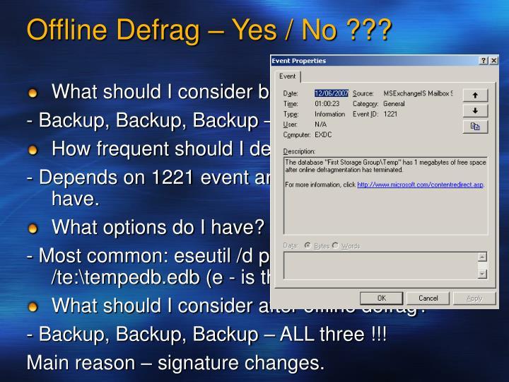 Offline Defrag –