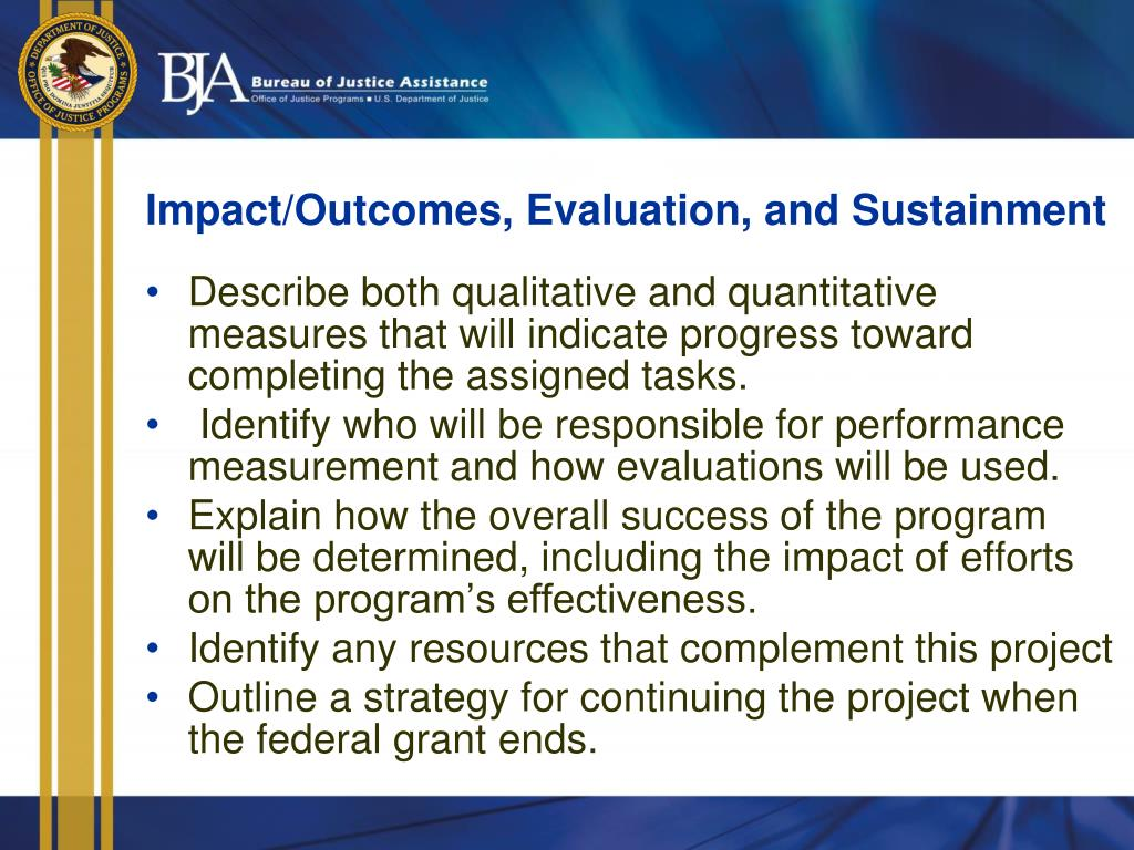 Impact/Outcomes, Evaluation, and Sustainment