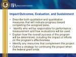 impact outcomes evaluation and sustainment