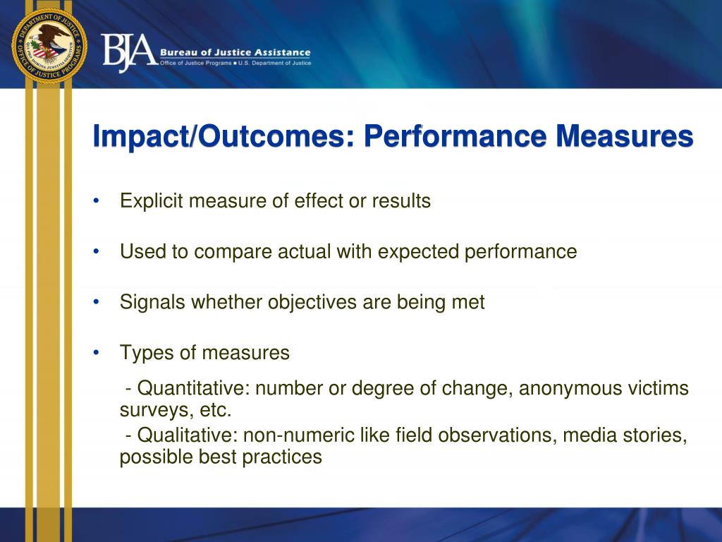 Impact/Outcomes: Performance Measures