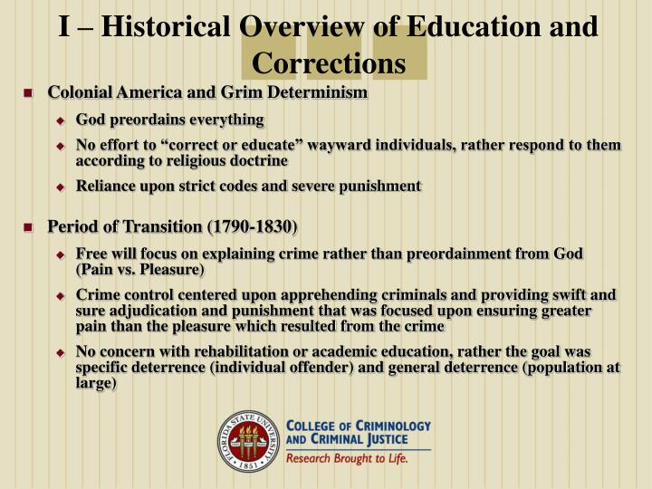 I historical overview of education and corrections